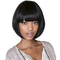 Fashion Black Short Straight Bob Synthetic Hair Full Wigs +Wig Cap for Women