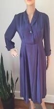 Vintage 1940s Blue Silk Dress With  Rhinestone Buttons. Stunning!