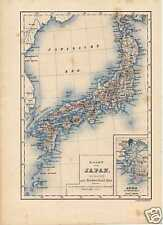 Antique landkaart lithography map Japan Nippon 1875