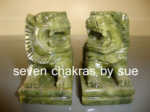 Feng Shui - Pair of Green Jade Fu Dogs (Protection & Good Fortune)