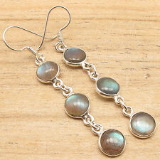 Natural Blue Fire Labradorite Long French Hook Earrings ! 925 Silver Plated Gift