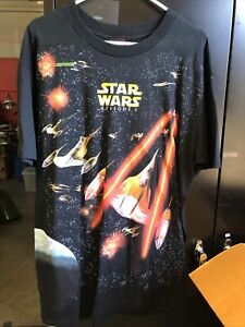 Vintage Star Wars Movie T-Shirt All Over Print Tee Rare Episode 1 Size XL