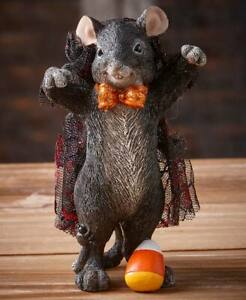 """Adorable Dress-Up Mouse """"VAMPIRE"""" w/ Candy Corn Halloween Shelf Table Statue"""