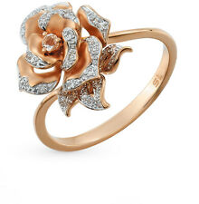 NEW Russian gold ring diamonds natural Rose gold 14K 585 fine jewelry flower