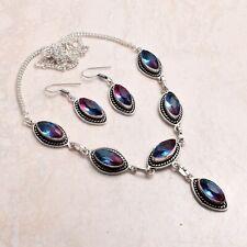 Bi-Color Turmalin ethnische handgemachte Halskette + Ohrringe Schmuck 28 GMS 723...