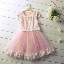 Flower Girls Applique Dresses Princess Summer Holiday Tulle Sundress Sleeveless
