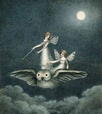 Vintage Repro Postcard: Two Fairies Ride on an Owl - Full Moon, Clouds
