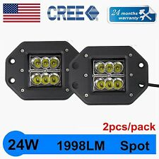 2X 24W CREE SPOT LED Cube Pods Work Light Flush Mount Offroad Truck Jeep Square