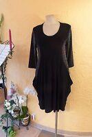 MAGNA Ballon TUNIKA Kleid 44 46 NEU schwarz mit Lurex Stretch EDEL LAGENLOOK