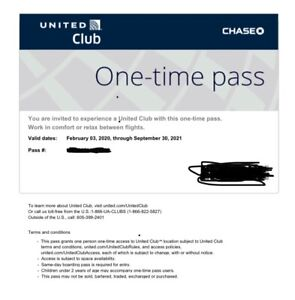One United Airlines UA Club One-Time Pass Expires 9/30/2021 Email Delivery