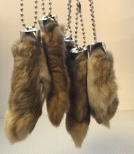 5 x Real Rabbit Foot Lucky Keychain NATURAL BROWN Vraie Patte de Lapin Chanceuse