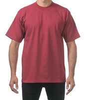Pro Club Men's Heavyweight Cotton Short Sleeve Crew Neck T-Shirt - Burgundy