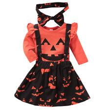 Baby Girl Halloween Clothes Set Romper+Suspender Skirt +Headband for 0-24M Girls