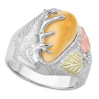 Stunning Elk Ivory Black Hills Gold on Sterling Silver Men's Ring Size 9 - 14