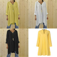 Loose V Neck Oversize Blouse Lapel Cotton Long Sleeve Tops Shirt Women