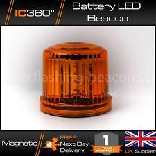 "5"" LED Magnetic Battery Powered Flashing Amber Beacon Warning Light"