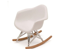 DOLLHOUSE MINIATURE - Modern Mid Century  Eames Rocker  Chair  1:12  NEW! WHITE