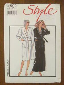 STYLE PATTERN - 4592 LADIES DRESSING GOWN BATHROBE SHAWL COLLAR 12-14 UNCUT