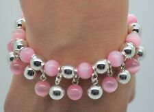 NEW  PINK CAT EYE/ SILVER ROUND BEAD VERY CUTE FASHION STRETCH CHARMS BRACELET