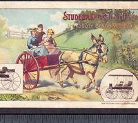 Studebaker Bros 1800s South Bend Buggy Farm Wagon Mule Cart Victorian Trade Card