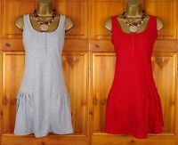 NEW EXCHAINSTORE LADIES GREY RED COTTON MIX SUMMER SUN TUNIC DRESS UK SIZE 10-18