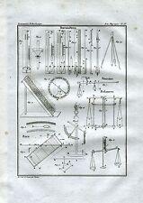 Barometri. Bilance.Bilancia Romana.Barometers.Barometern.Balance.Acquaforte.1835