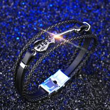 Stainless Steel Guitar Bracelets Leather Mens Bracelet Cuff Strap Rope Bangle