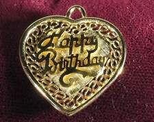 HAPPY BIRTHDAY Heart 14k SOLID GOLD PENDANT or Charm - Engravable - Excellent!!