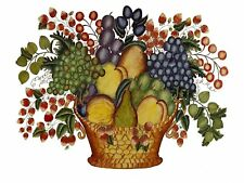 GRAPES WITH PEACH plum pear basket Tile Mural Kitchen Backsplash Marble Ceramic