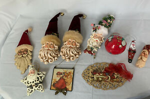 Santa Claus Ornaments 10 Mixed Lot Some Handmade Wood, Metal, Plastic, Glass