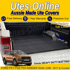 Heavy Duty Perforated Rubber Ute Mat (Extra Thick) For Ford PX Ranger Dual Cab