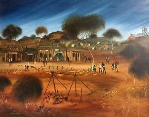 "Original Oil Painting by Frank Harding (Australian 1935-1990) ""Gold Town"""