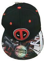 Marvel Deadpool Mens Black Hat Cap Adjustable Snapback One Size Berskhire New