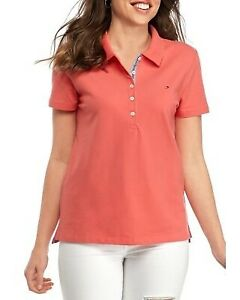 BNEW Tommy Hilfiger Coral Women's Solid Polo Shirt, XSmall only