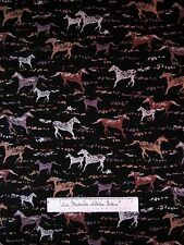 Southwest Fabric - Wild Horses Cave Drawing Brown Black - Michael Miller YARD