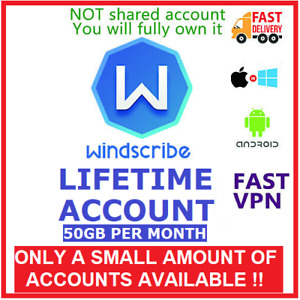 ✅ Windscribe VPN LIFETIME 50GB/month  -- Not shared, your own private account --