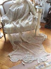 OMG Antique VTG Net Lace Tassel Coverlet Bedspread VICTORIAN OLD BATTENBURG?