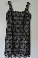Bebe Moda Black Floral Silver Lined Sleeveless Back Zip Mini Dress SIZE:8