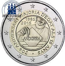 Andorra 2 Euro 2015 stgl 30 Jahre Volljährigkeit für 18-jährige in CoinCard