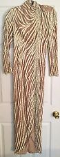 1980's Bob Mackie Nude, Gold and White Vintage Beaded&Sequin Gown- 12
