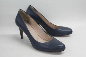 CLARKS Somerset Ladies Navy Blue Court Shoes W/ Stiletto Heel Round Toe EU41 UK7