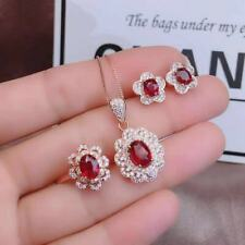 Certified Ruby S925 Silver Pendant Necklace Ring Stud Earrings Set Women Gift
