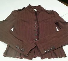 Women's Brown Blazer Peplum Waist Office Wear Attire Size S erc-f