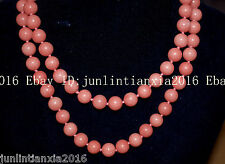 New Natural 8mm Pink Morganit round bead Gemstone necklace Long 36 Inch