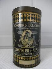 Ancienne grande boite Bonbons Délicieux Confiserie Des Alpes Grenoble Art Déco