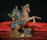 """8 """"Ancienne Chine émail coloré Peinture Guan Gong Yu Guerrier Ride Cheval Statue"""