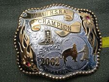 GIST Trophy Belt Buckle 2002 Hawaii H.S.R.A. Champion 2 red stones USA
