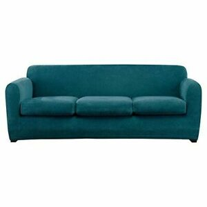 Ultimate Stretch Chenille Slipcover by sure fit Sofa size Teal blue washable 4pc