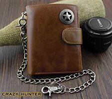 Men's Genuine Leather Biker Texas Star Zipper Card /Money Chain wallet Purse