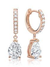 Authentic CRISLU Small Pear-shape Huggie Drop Earrings in Rose Gold